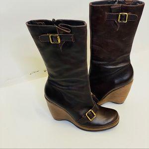 COPY - Schultz brown leather wedge boots sz 8